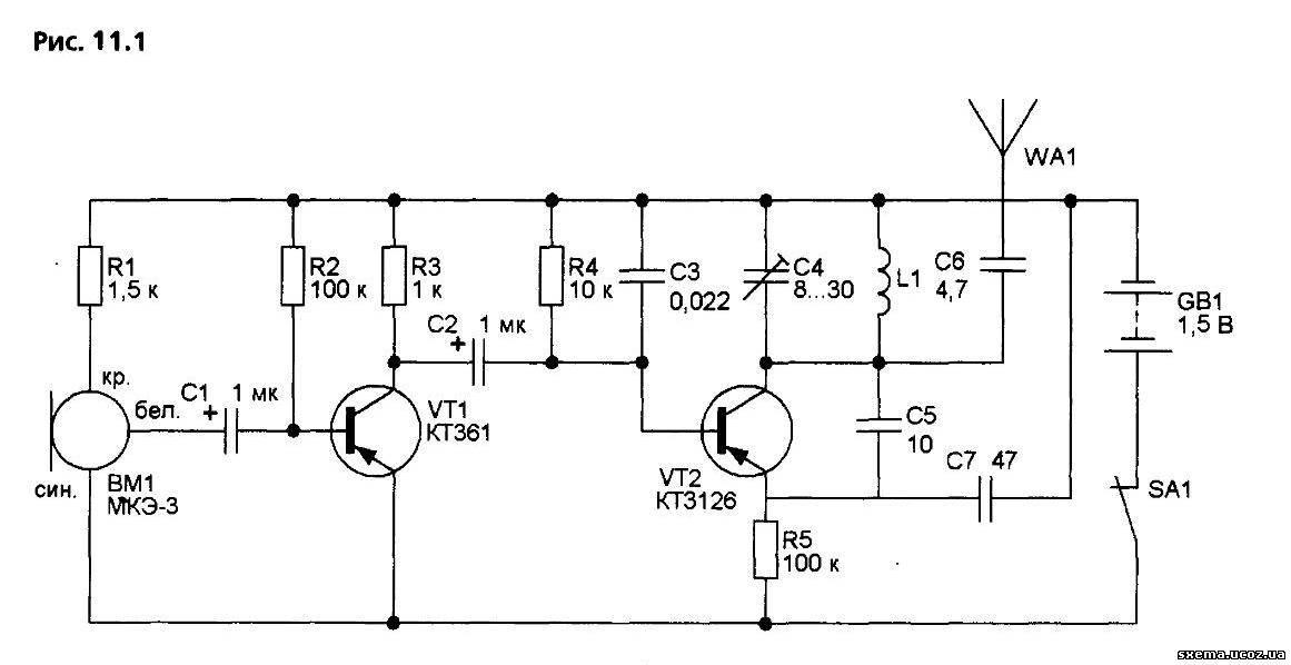Схема простого радиомикрофона