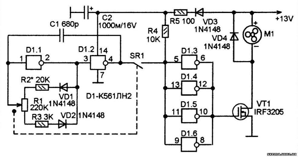 и D1.2 микросхемы К561ЛН2.