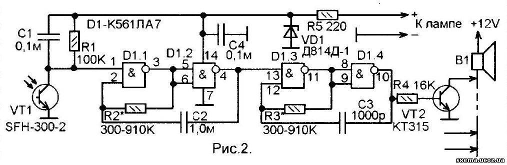 из фоторанзистора и схемы