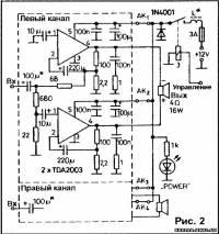 Для стереоварианта усилителя необходимы четыре TDA2003 (рис.2) или две...