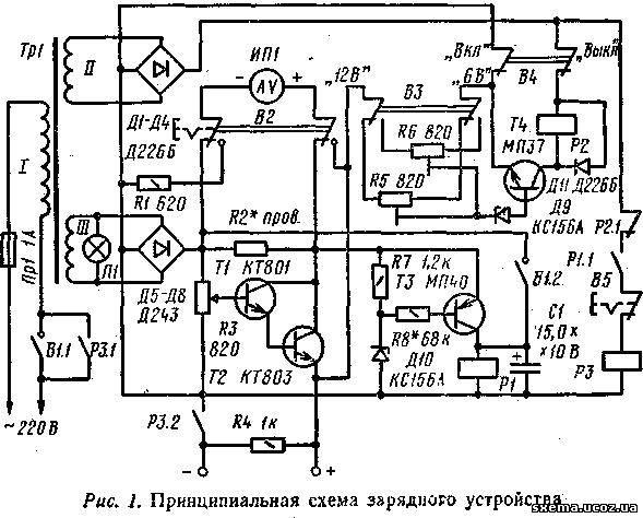 Принципиальная схема зарядного устройства приведена на рис. 1. Работает...