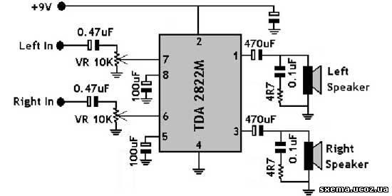 на TDA2822 схема и печатка